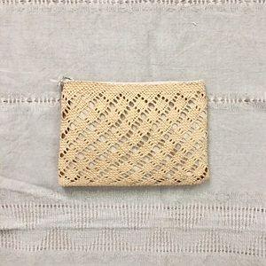Vintage Straw Woven Makeup Clutch Bag • NWOT